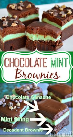 Chocolate Mint Brownies - Decadent ganache topping, creamy mint filling, and a moist, rich brownie base. | MomOnTimeout.com
