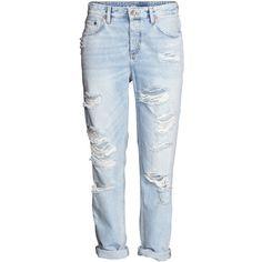 Boyfriend Low Jeans $39.99 ($40) ❤ liked on Polyvore featuring jeans, pants, bottoms, boyfriend fit jeans, blue denim jeans, h&m, h&m jeans and denim jeans
