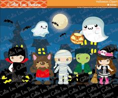 Halloween clipart Halloween Party Digital images Dracula Vampire Spooky Werewolf Witch Frankenstein Frankie Mummy clip arts(CG074)
