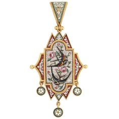 Antique Gold and Micromosaic Pendant. Centering a fancy-shaped panel topped by a pendant-loop, suspending three small circular panels, set throughout with floral multicolored micromosaic decoration and birds, circa 1870, reverse with glazed compartment, several tesserae missing, approximately 7.6 dwts.