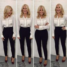 This Morning host Holly Willoughby is known for her figure-hugging pencil skirts and elegant fashion. Take a look at her best outfits from the show. Work Fashion, Trendy Fashion, Fashion Outfits, Fashion Shirts, Fashion 2018, Womens Fashion, Classy Fashion, Office Fashion, Business Casual Outfits