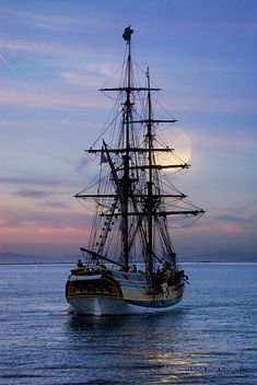 Lady Washington with Full Moon, Sacramento River Delta, California | HMS Interceptor in the film Pirates of the Caribbean