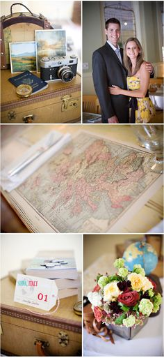 @Ashley Hopkins  Rehearsal Dinner? Cool Travel theme, showcase some of your travels you guys have taken! Love this!