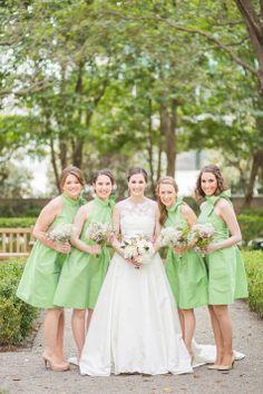 Green bridesmaid dresses | Jennifer Yarbro Photography | Theknot.com
