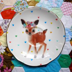 Flower Deer with Love Heart Dots Vintage Illustrated Plate by The Story Book Rabbit. Oh wow this is perf, so cute! Vintage Plates, Vintage China, Vintage Love, Retro Vintage, Bambi, Kitsch, Oh Deer, China Painting, Love Heart