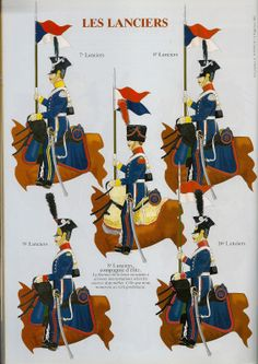 Duchy of Warsaw Lancers by Andre JOUINEAU- Top Left to Bottom Right 7th Lancers, 8th Lancers, Elite co 8th Lancers, 9th Lancers & 16th Lancers.