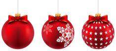 Beautiful Red Christmas Balls PNG Clip-Art Image