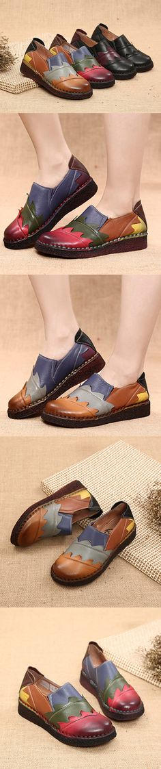 US$53.77 SOCOFY Retro Handmade Splicing Pattern Soft Flat Leather Loafers