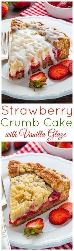 Strawberry Crumb Cake with Vanilla Glaze