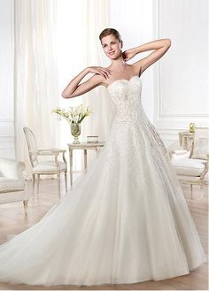 ALLURING ORGANZA A-LINE SWEETHEART NECKLINE NATURAL WAISTLINE WEDDING DRESS SEXY LADY LACE FORMAL PROM BRIDESSMAID