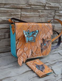 "Buy Bag ""Butterfly and cat"". Combined bag with decor - Source by bags handmade Leather Diy Crafts, Leather Gifts, Leather Bags Handmade, Leather Craft, Leather Bag Tutorial, Leather Bag Pattern, Leather Keychain, Leather Wallet, Leather Purses"