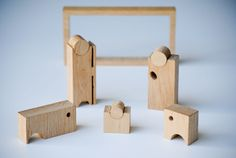 """A Christmas authentic cowshed, made entirely by hand in oak. Within the same box that acts as a hut-theater where the scene of the """"Epiphany"""" takes place, live the 5 characters: Mary, Joseph, the ox, the donkey and the baby Jesus. A sort of Tangram, the f…"""