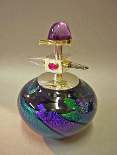 Jewelled Art-Glass Scent Bottle Amethyst, Pink Sapphire/Ruby with precious metals ~ LUXE ~ By Elaine Hyde Glass♥≻★≺♥