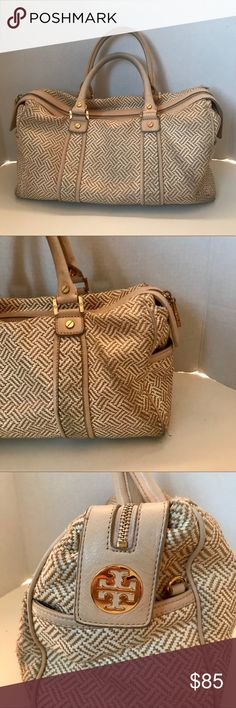 Tory Burch tan and white woven leather satchel Satchel from Tory Burch. Leather bottom with gold feet. Gold hardware. Leather handles. Beautiful satchel in pre-loved condition. Exterior does show some slight signs of wear as pictured. Interior is immaculate clean Tory Burch Bags Satchels