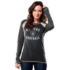 Oakland Raiders Majestic Women's Fantasy League Long Sleeve T-Shirt - Black/Gray