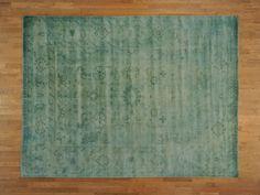 9x12-Overdyed-Teal-Green-Oushak-100-Wool-Handmade-Oriental-Rug-Sh19496