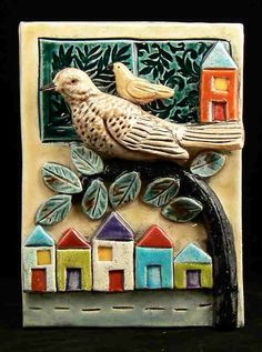 Ceramic Tile Birds with Houses        Made to Order by tilebyfire