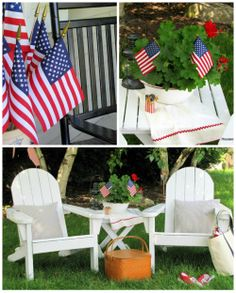 Lots of inspiration for your patriotic Fourth of July backyard decor.