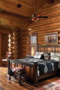 With massive, flared red cedar posts and half-log stairs, a handcrafted Jackson home echoes the iconic lodges of Yosemite and Yellowstone. Log Home Bedroom, Log Cabin Bedrooms, Log Cabin Living, Log Cabin Homes, Log Cabins, Master Bedroom, Rustic Bedrooms, Rustic Cabins, Mountain Living