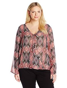 2b04a6f265e6a Derek Heart Juniors Plus Size Printed Bell Sleeve Surplus Top with Tie