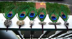 Vintage Brooch and peacock Corsages