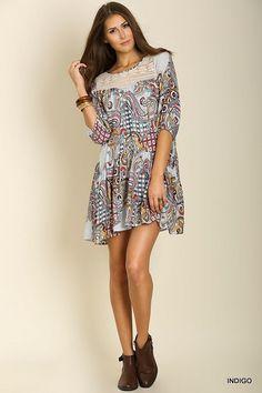 Paisley Print Peasant Dress - Indigo