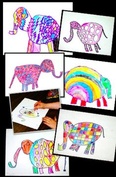 Elmer and Friends - integrate math, art, and language with this direct drawing lesson using geometric shapes and patterns.