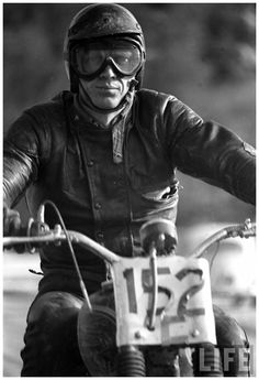 c4f15053921 Steve McQueen on a motorcycle. In the he took part in several motocross  events. He also was member of the American team for the 6 days Trial Trophy  ...