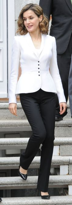 cool Queen Letizia attends a meeting for Cervantes IV Centenary on April 14, 2016 in ...