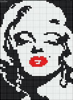 Marilyn Monroe in black and white with red lips pattern / chart for cross stitch, knitting, knotting, beading, weaving, pixel art, and other crafting projects.