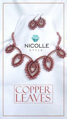 Necklace and earrings- Cooper Leaves