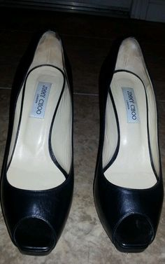 Jimmy Choo Black Leather 'Comet' Peep Toe Platform Pumps sz 40 in Clothing, Shoes & Accessories | eBay