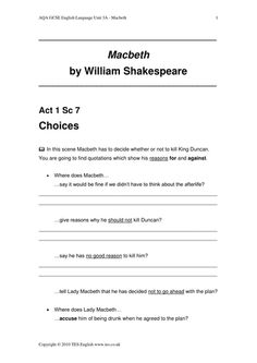 macbeth worksheets shakespeare worksheets  printable worksheet quizzes on five different themes from shakespeare s macbeth for use unit part a controlled assessment macbeth