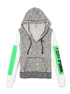 Perfect Full-Zip Hoodie PINK Perfection in a hoodie: super comfy, must-have length and a cute slim fit. Must-have sweats by Victoria's Secret PINK. Pink Outfits, Cute Outfits, Sport Outfits, Pink Wardrobe, Grey Zip Ups, Pink Nation, Pink Brand, Vs Pink, Green And Grey