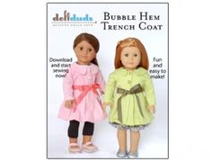 American Girl Doll Clothes Pattern: Trench Coat | Liberty Jane Doll Clothes Patterns For American Girl Dolls