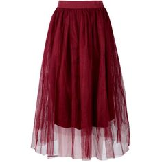 Boohoo Ava Boutique Full Tulle Midi Skirt ($16) ❤ liked on Polyvore featuring skirts, knee length tulle skirt, circle skirt, maxi circle skirt, red maxi skirt and pleated mini skirt