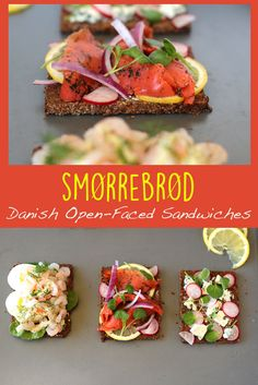 Springtime in Copenhagen can be barren. The only pop of color comes from the gorgeous Danish open-faced sandwiches - smorrebrod. Danish Cuisine, Danish Food, Nordic Diet, Viking Food, Denmark Food, Bruschetta, Sandwiches, Open Faced Sandwich, Smoked Cheese