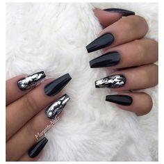 21 Bold and Edgy Black Coffin Nails nails nailsdesign nailsdecoration crazyforus boldnails edgynails blacknails coffinnails 511369732688786107 Black Coffin Nails, Black Acrylic Nails, Metallic Nails, Matte Nails, Stiletto Nails, Black Chrome Nails, Black Silver Nails, Edgy Nails, Stylish Nails