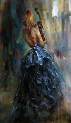"Original Painting ""Blue Sonata"" by Anna Razumovskaya - the inspiration Violin Painting, Surrealism Painting, Figure Painting, Anna Razumovskaya, Dope Cartoon Art, Modern Impressionism, Selling Art Online, Russian Art, Portrait Inspiration"