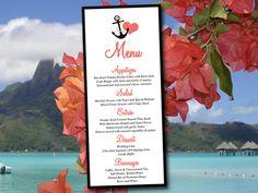 "Beach Wedding Menu Card Template - Menu Download - Printable Menu ""Anchor Love"" Black Grapefruit Wedding - Nautical Wedding Menu Template by PaintTheDayDesigns on Etsy"