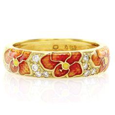 Hidalgo-Orange-and-Yellow-Enamel-Flower-Band-Ring-in-18K-Yellow-Gold