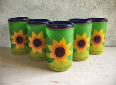 Painted Blown Glass Tumblers With Sunflowers Mexican Folk Art Drinkware, Rustic Home Decor Grey Bar, Hacienda Style, Mexican Folk Art, Bar Tools, Spanish Style, Rustic Interiors, Crate And Barrel, Restaurant Bar, Drinkware