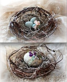 Add-ons for the wire wreath tutorial (pinned on wreaths board in craft section) - had to pin these little nests and decorated eggs too - #Karla's Cottage - #nest #decorated #eggs #crafts #DIY #wire #twigs - tå√