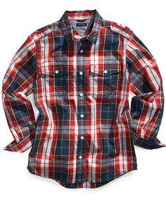 Tommy Hilfiger Kids Shirt, Little Boys Brighton Plaid Woven Shirt