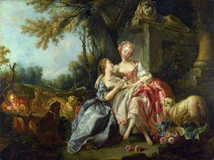 (Studio of) François Boucher (1703-1770)  The Billet-Doux, 1754  Olio su tela, 95,3 x 127 cm National Gallery, London
