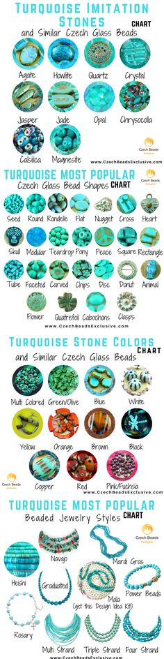 Turquoise Stone Guide: History, Popular Sizes, Colors, Imitation Gemstones, Shapes, Jewelry Styles and Similar Czech Beads   SAVE it!   CzechBeadsExclusive.com #czechbeadsexclusive #czechbeads
