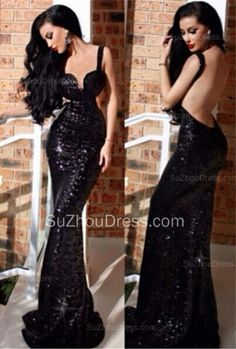 New Prom Dresses Stunning Straps Mermaid Sleeveless Backless Sweetheart Sweep Train Prom Gowns