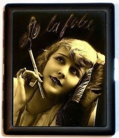 Smoking French Flapper Cigarette Case ID Holder Wallet Business Card Holder Jazz Age Pinup Pin Up Pin Up, Steampunk Clock, Christina Ricci, Art Deco Era, Perfect World, French Art, Hollywood Glamour, Art Nouveau, Halloween Face Makeup