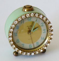 Clocks – Decor : Vintage Jadeite Green Bradley Rhinestone Alarm Clock -Read More – Vintage Alarm Clocks, Old Clocks, Antique Clocks, Vintage Love, Retro Vintage, Vintage Items, Vintage Stores, Tricia Guild, My Favorite Color