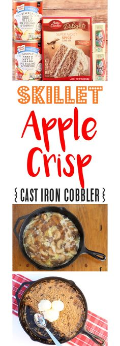 Skillet Apple Crisp!  This Easy Cast Iron Cobbler Recipe pairs the delicious crunch of the crumble topping with sweet apples for the ultimate dessert.  Just 3 Ingredients!
